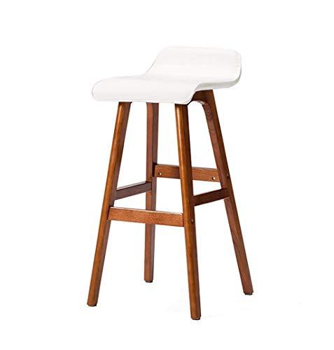 Barstuhl Stuhl, Barstuhl, Barhocker Massivholz Barhocker Küche Frühstück Stuhl Hohe Hocker Mit Weißen PU Sitz Barhocker Geeignet For Familien Und Business-Dining Chair (Color : A) -