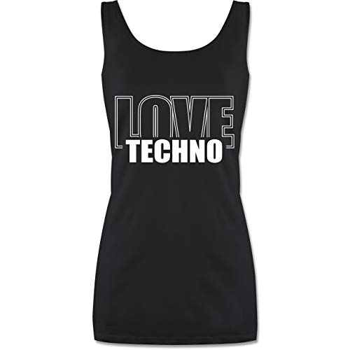 - Love Techno - S - Schwarz - P72 - lang-geschnittenes Tanktop für Damen ()