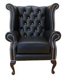 Designer Sofas4u Chesterfield Crystallisedâ ¢ – Swarovski Elements Queen Anne Haute Dos Wing Chaise en Cuir Noir