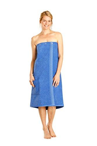 Betz Damen Saunakilt Sauna Kilt 100% Baumwolle Regulierbar der Weite durch Knöpfe und Gummizug Farbe blau -