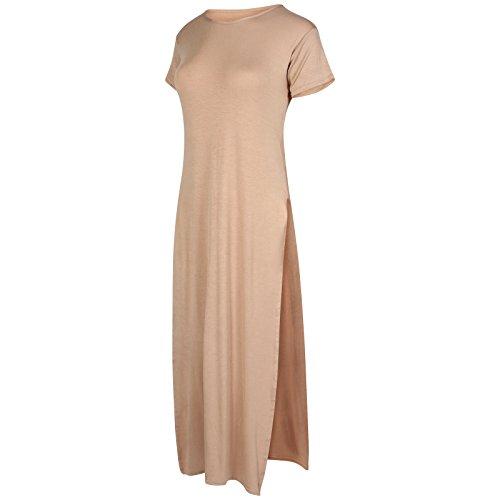 Get The Trend - Robe - Manches Courtes - Femme Noir Noir Camel Plain