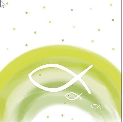 20 Servietten Fische auf Regenbogen grün als Tischdeko zur Taufe, Kommunion und Konfirmation 33x33cm