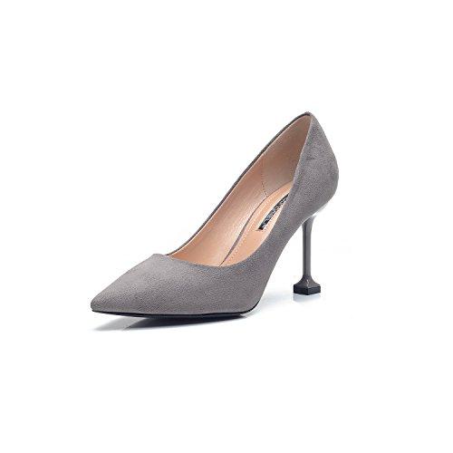 Nero tacchi alti punta 8cm satinata per donne singoli scarpe scarpe da lavoro donne in carriera scarpe Gray