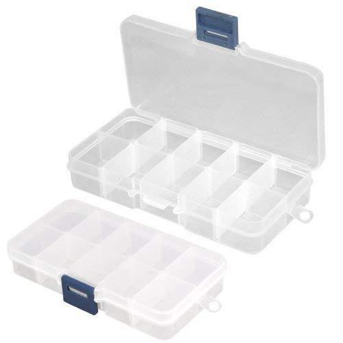 TRIXES 2 Boîtes de Rangement Transparentes pour Gemmes Nail Art et Décorations pour les Ongles
