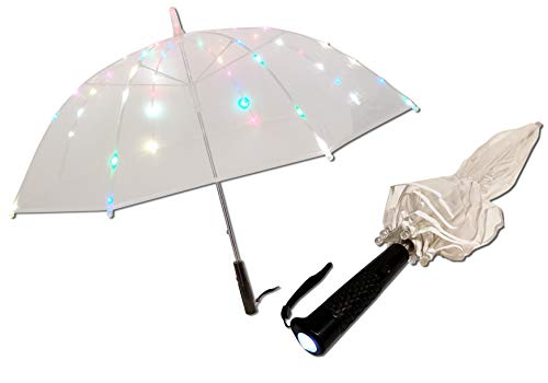 LED Regenschirm Transparent Regenbogen Leuchten Farbwechsel Requisiten Festival Party