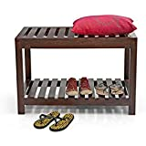 Krishna Wood Decor Sheesham Wood Bench for Living Room | Hallway Furniture | Single Seater | Striped Pattern | with Shelf Storage | Walnut Finish