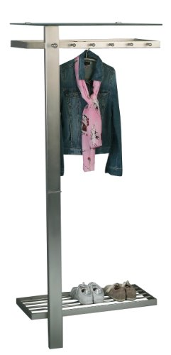 HomeTrends4You 819488 Garderobe, 80 x 190 x 43 cm, Metall Edelstahloptik