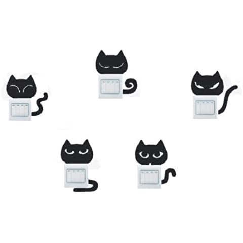 lote de vinilo decorativo pegatina pared, para interruptor o enchufe (Varios colores a elegir)- lote 5 gatos
