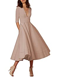 YMING Femme Robe de Cocktail Vintage Manches 1/2 Robe Col V Swing Robe Midi