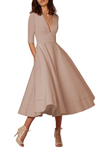 YMING Damen Kleid Festliches Kleid Einfarbig Knielang Kleid Cocktailkleid Partykleid Midi...