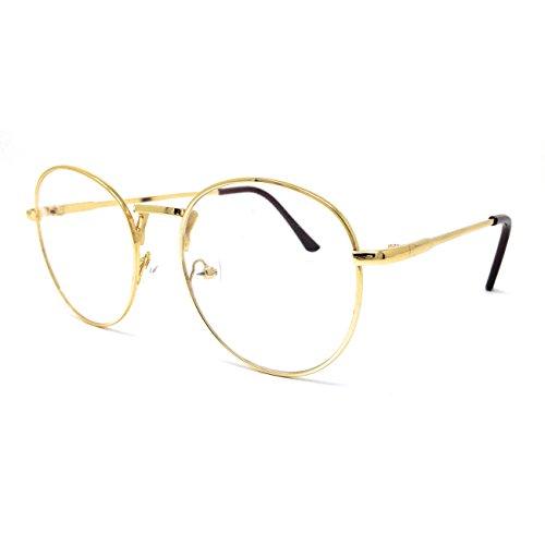 Dawnzen Nerdbrille Leicht Runden Brille Metallrahmen Klare Linse Rahmen Damen Herren Ohne Stärke reg;