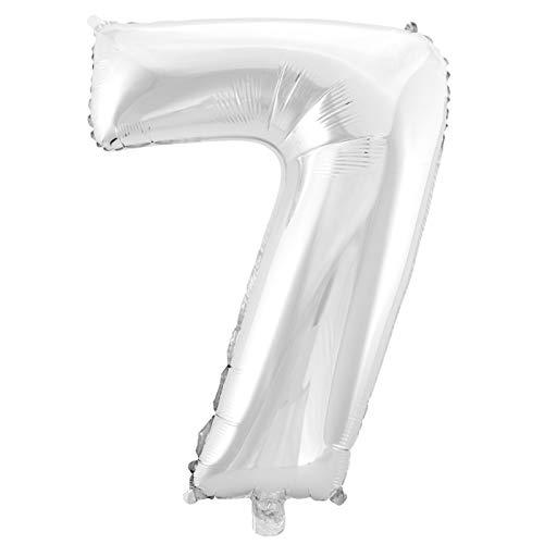 MC-Globo Gigante Número 7 De Foil Color Plata para Fiestas de Cumpleaños 65cm