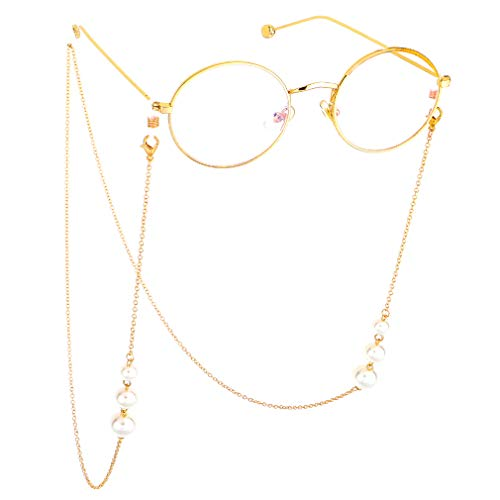 Fauhsto Brillenketten für Lesebrillen,Perlen Brillen Cord Brillenband Damen Lesebrille Brille,Brillenbänder Kette Lesebrillen Band Brille Cords Hals Cord Gläser Dekorative