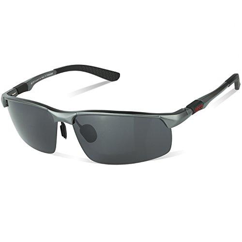 DUCO Herren Heiße Mode Driving Sonnenbrille Polarisierte Brille Sport Eyewear Angeln Golf mit Al-Mg Rahmen 8188 (Gunmetal/Grau)