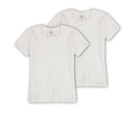 Sanetta Mädchen T-Shirt mit Crochetta Spitze im Doppelpack aus Biobaumwolle - Made in Europe - weiß (10), 164