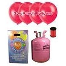 Desechable de helio Cilindro de gas con 30 rubíes Globos rojos y cinta Curling incluido