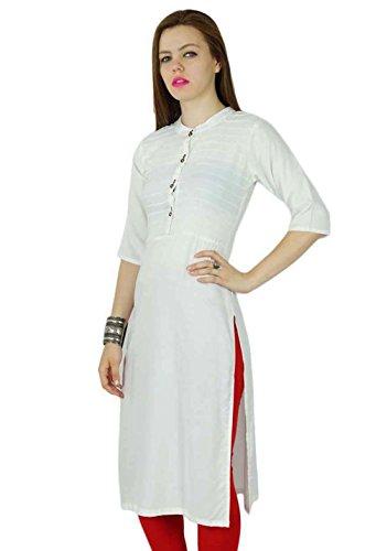 Bimba femmes Noir Rayonne Kurta Kurti Tunique D'Été À Manches Courtes Longue Blouse Top Vêtements Blanc