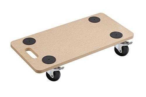 Meister Transportroller 590 x 290 mm ✓ 200 kg Tragkraft ✓ MDF-Platte ✓ PP-Räder | Möbelroller mit Bremse | Transporthilfe für Umzug | Rollwagen für Möbel-Transport | Kistenroller aus Holz | 821400