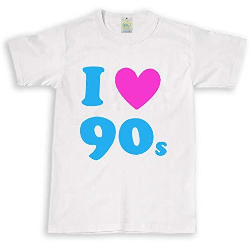 Unisex Pop-Kostüm I Love The 90er Jahre Herz Top, Retro Gr. 12-13 Jahre, weiß