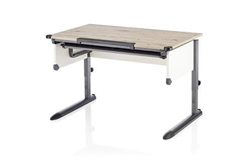 Kettler 0W10103-1010 Kinderschreibtisch KIDS COLLEGE BOX Tischplatten melaminharz-beschichtet mit Dickkantenumleimer Eiche/Anthrazit 110 x 54-83 x 68 cm