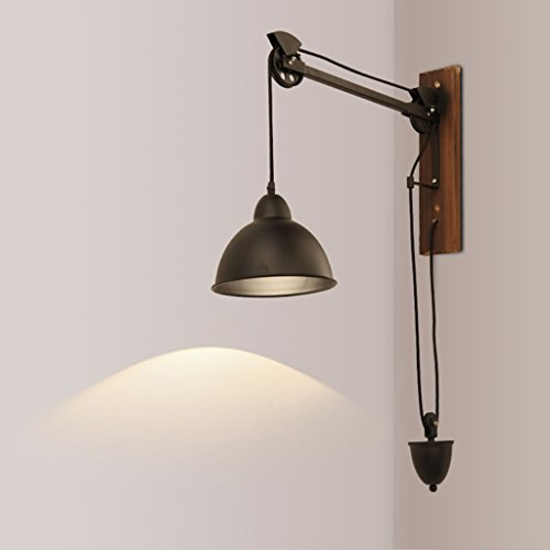 Wandlampe Retro Eisen Kunst Industriewind Kann heben Ziehen Sie das Seil Jobs Büro Massivholz Kreative Coffee Shop (Kordelzug Textur)