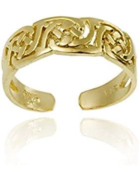18K Gold Über Sterling Silber irischer Keltischer Knoten Zehenring