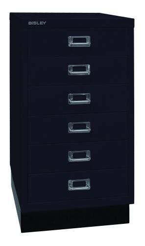 Bisley MultiDrawer, 29er Serie mit Sockel, DIN A3, 6 Schubladen, Metall, 633 Schwarz, 43.2 x 34.9 x 67 cm