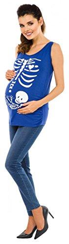 Zeta Ville - Maternité Maman Bébé squelette tee shirt grossesse - femme 243c Bleu Royal