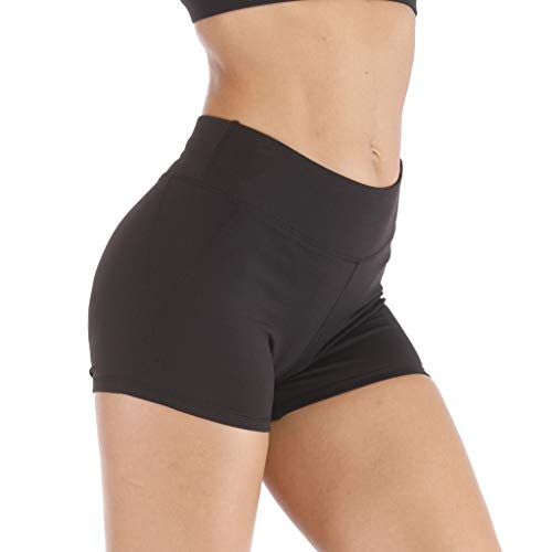 QinMMROPA Mujeres Pantalones Cortos Deportivos, pantalón Cintura Alta Leggings Running Correr Gimnasio Gym Pantalones Cortos Mujer Shorts elástico Negro S