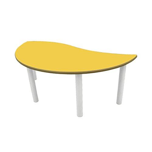 Mobeduc pour Enfant Demi-Ronde Wave Table, Bois, Jaune, Taille 1, 120 x 60 x 46 cm