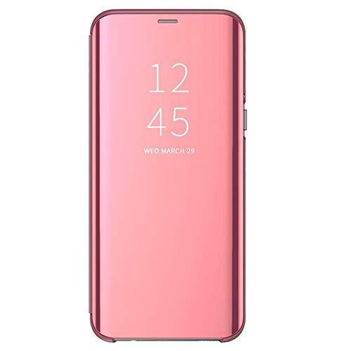 Funda para Xiaomi Mi 8 Lite Suave + Duro Carcasa Espejo Mirror Flip Caso Ultra Delgada Shock Caja del Teléfono Translucent Window View (Oro Rosa, Xiaomi Mi 8 Lite)
