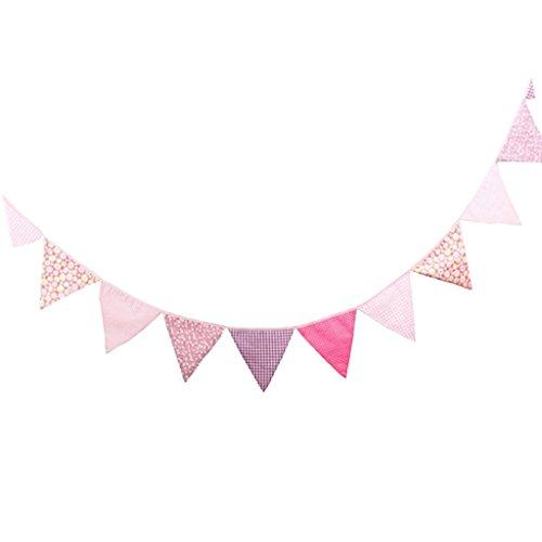 Gazechimp 3.2m Dreieck Wimpelkette mit 12 Schöne Blumen Flagge , Wimpel Girlande aus Baumwolle für Weihnachten Hochzeit Geburtstag Haus Dekor , 16x16x16cm - Rosa (Billig Geburtstag Dekor)