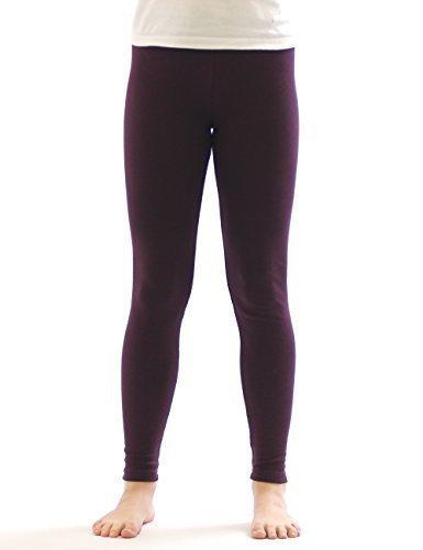 Kinder Mädchen Thermo Leggings Fleece Hose lang leggins aus Baumwolle dunkellila 140