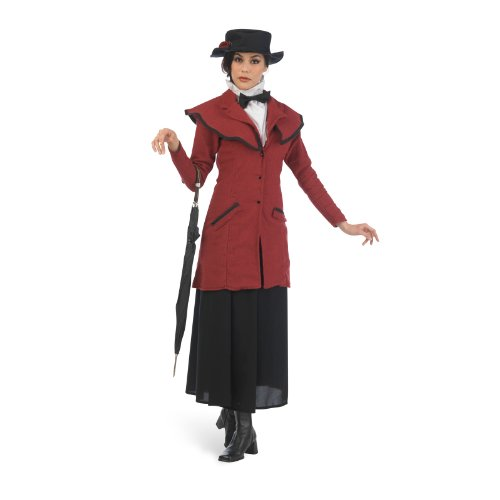 Poppins Musical Film Kostüm Mary Poppin Damen Fasching Kindermädchen von Mrs. Banks Rock Jacke Hut chic - M