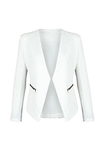Blazer Weiße Kostüm - Mr.Shine Blazer kragenlos mit Zipper (L, Weiß)