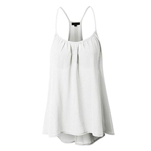 MRULIC Damen Viele Größen Verfügbar Regelmäßige Sommerweste Shirt Tops Optionale Farbe(Weiß,EU-42/CN-2XL)