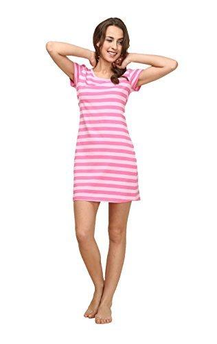 Suntasty gestreiftes Sleepshirt Damen Nachthemd - kurz Basic-Sleepshirt Kurzarm Nachtkleid Rundhals Negligee Nachtwäsche SS1001W Pink L