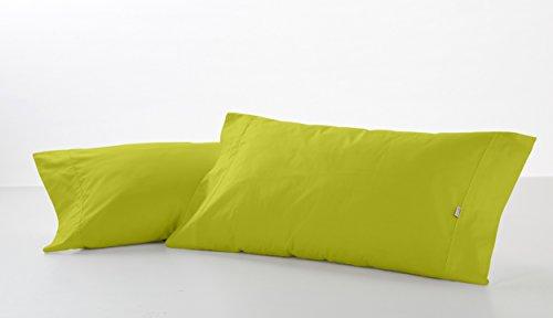 ESTELA - Funda de Almohada Combi Liso Color Pistacho - 2 Piezas de 45x85 cm - 50% Algodón-50% Poliéster...