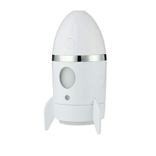 Wghz Creative Rocket Modell Luftbefeuchter Home USB Aromatherapie Auto Luftreiniger Coole Bunte Lichter, weiß