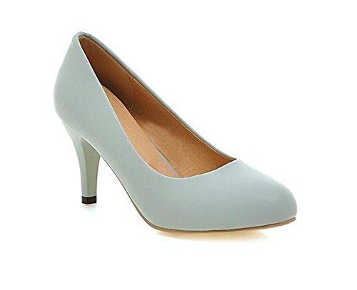 tacchi alti con le scarpe punta rotonda scarpe bocca superficiale della corte semplice lavoro occasionale primavera e l'estate blue