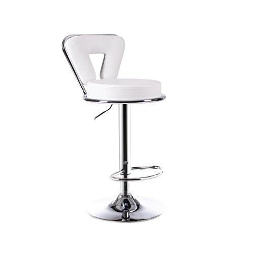 Back-stil Barhocker (Guo shop- Barhocker, hohe Hocker, europäischen Stil Swivel Back Stühle, Bar Cafés PU-Material Sitz Metallsitz Hoch 60-80cm mehrere Farbe Guter Stuhl ( Farbe : Weiß ))