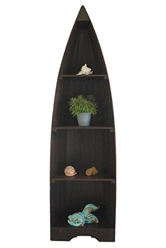Naturesco Exotisches Holz Bootsregal Regal Boot dunkelbraun 195cm