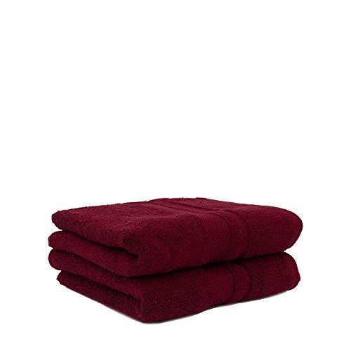 2X Handtuch | Bordeaux | 100% Baumwolle Frottier Zero Twist | ÖKO-TEX Standard Zertifiziert | Extra Dicke Premium Qualität 560 g/m² -