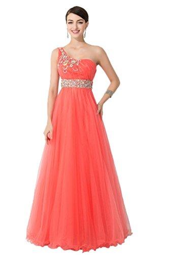 Promgirl House Damen Traumhaft Ein-Schulter A-Linie Prom Ballkleider Abendkleider Bodenlang Wassermelone