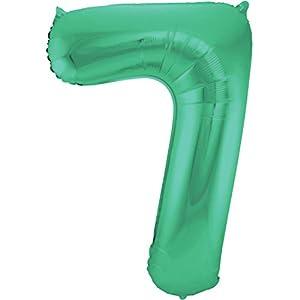Folat Globo Verde metálico Mate con número 7 - 86 cm