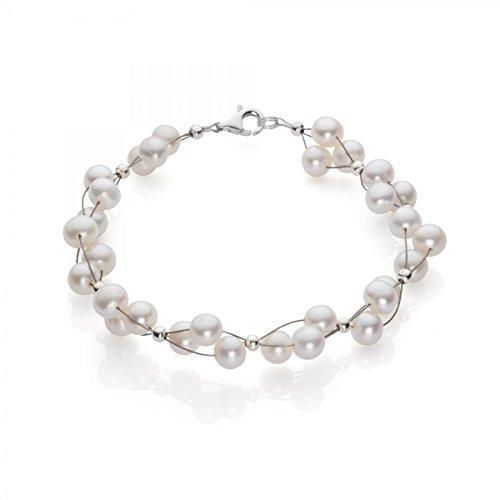 Armband aus Süßwasser Perlen Zuchtperlen creme-weiß Armschmuck Damen Hochzeit (Creme Perle Armband)