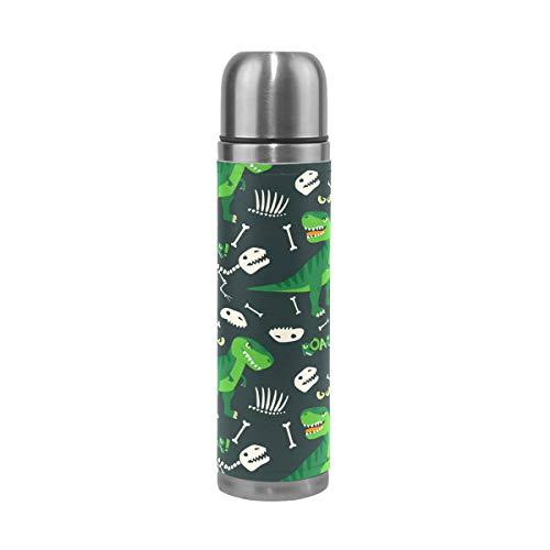Alinlo Trinkflasche mit Dinosaurier-Motiv, Edelstahl, Vakuum-Thermosbecher, auslaufsicher, isoliert, für Reisen, Kaffeetasse, 17 oz