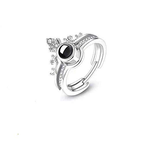 Yanday Projektion Stein Ring ich Liebe Dich 100 Sprache personalisierte Strass Krone Ring(Silber Schwarz und Weiß - Kostüm Schmuck Und Verlobungsringe