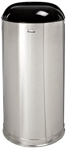 European & Metallic Drop-In Dome Top Receptacle, Round, 15gal, Satin Stainless, Sold as 1 Each
