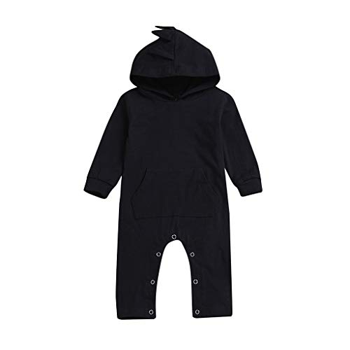 ALISIAM Winter Weihnachten Baby Kleiner Junge Freizeit schön Mode Gemütlich Mit Kapuze Einfarbig schwarz Warm halten Strampelhöschen Kriechender Anzug Kinderkleidung